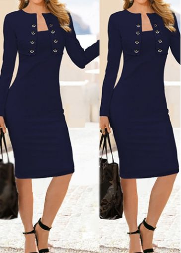 Button Decorated Long Sleeve Navy Blue Dress with cheap wholesale price, buy Button Decorated Long Sleeve Navy Blue Dress at Rotita.com !