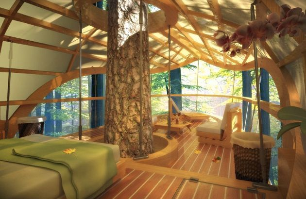 LEED Certified Tree Top Accommodations in Ontario, Also what a future bedroom of mine would look like.