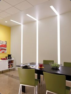 lighting interior. wall recessed linear fluorescent lens with continuous lighted corner lighting interior