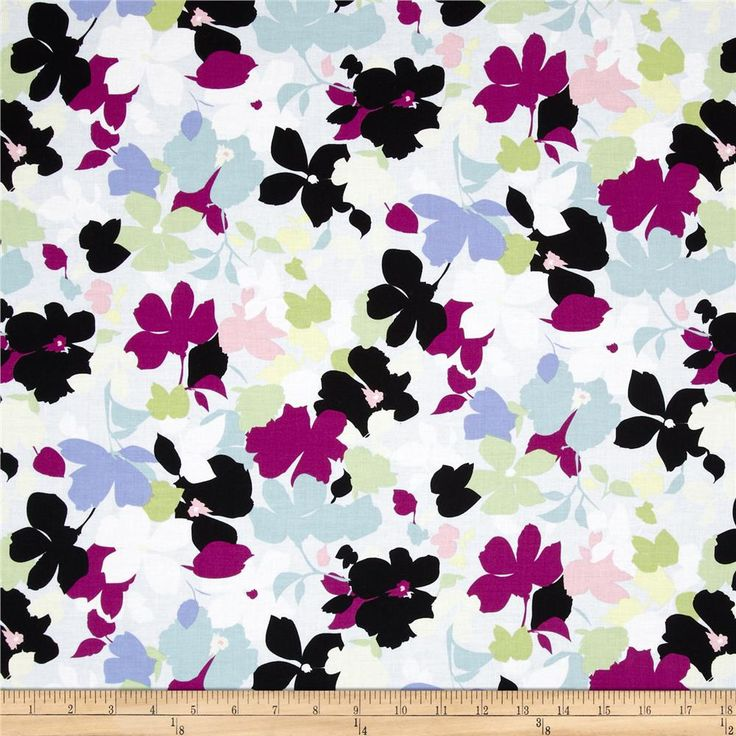 Modern Age Floral Blue from @fabricdotcom  Designed for Studio e Fabrics, this fabric is perfect for quilting, apparel and home décor accents.  Colors include white, periwinkle, black, aqua, plum and pink.