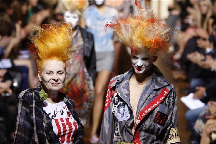 With her husband Malcolm McLaren, British designer Dame Vivienne Westwood (on the left) is largely credited with bringing modern punk style into the mainstream. McLaren eventually began to manage the punk band the Sex PIstols and eventually produced his own music.