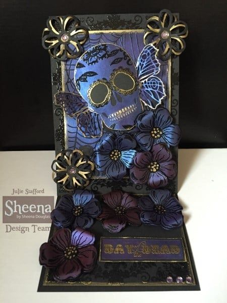 Project created with the Day of the Dead embossing folders from Sheena Douglass. #crafterscompanion