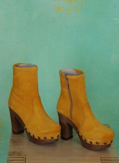 Grünbein Schuhe Isabell gelb highheel boots yellow laarzen hoge hakken geel