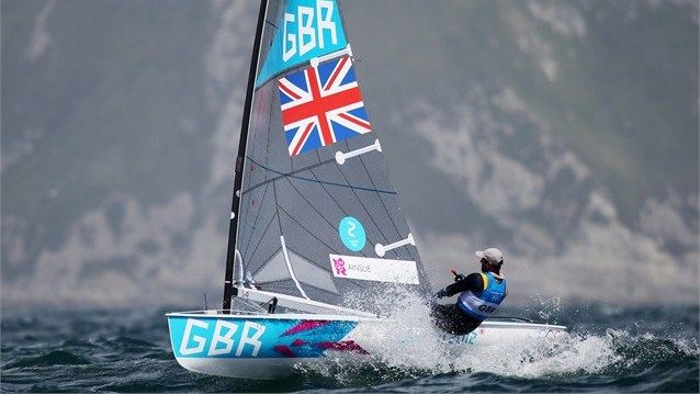 Ben Ainslie of Great Britain competes in the men's Finn Sailing on Day 6 of the London 2012 Olympic Games at Weymouth & Portland. August 2, 2012.  London, England