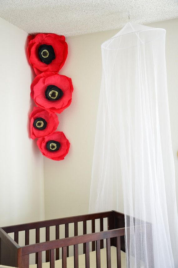 Giant Red Paper Flowers-Paper Poppies-Crepe Paper Flowers Set-Nursery Flowers-Boho Nursery Decor-Girl's Room Decor-Flower Photo Backdrop