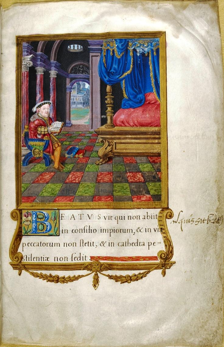 A peek inside Henry VIII's bedroom in Henry VIII.'s Psalter