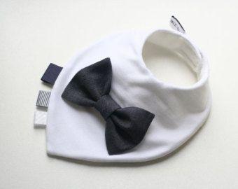 Baby boy bandana bib removable bow tie baby shower baptism christening gift…