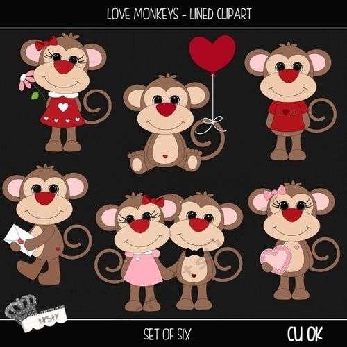Love Monkeys - Lined Clipart by kirsty smith This is a set of 6 seperate cliparts. This set is flat colours with a black outline. Perfect…