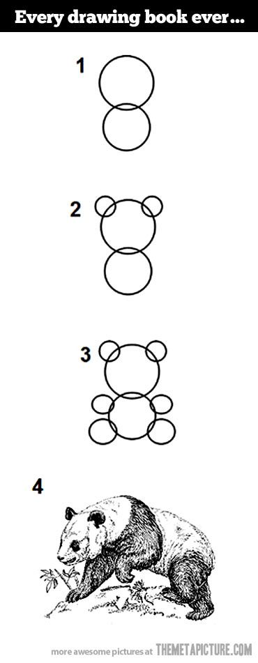 How to draw a Panda…well that escalated quickly!  I had to repin this, I could not stop laughing!!  So true!