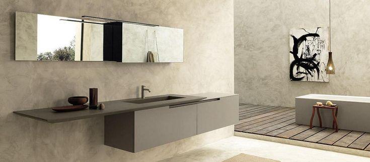 Italiaans design in de badkamer: badkamermeubel Moon Cross van Modulnova met overhangend blad - via Home Concepts