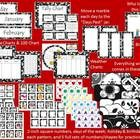 Black and White Calendar Bulletin Board Set.  Complete sets in 7 different patterns! Includes days of the week and months