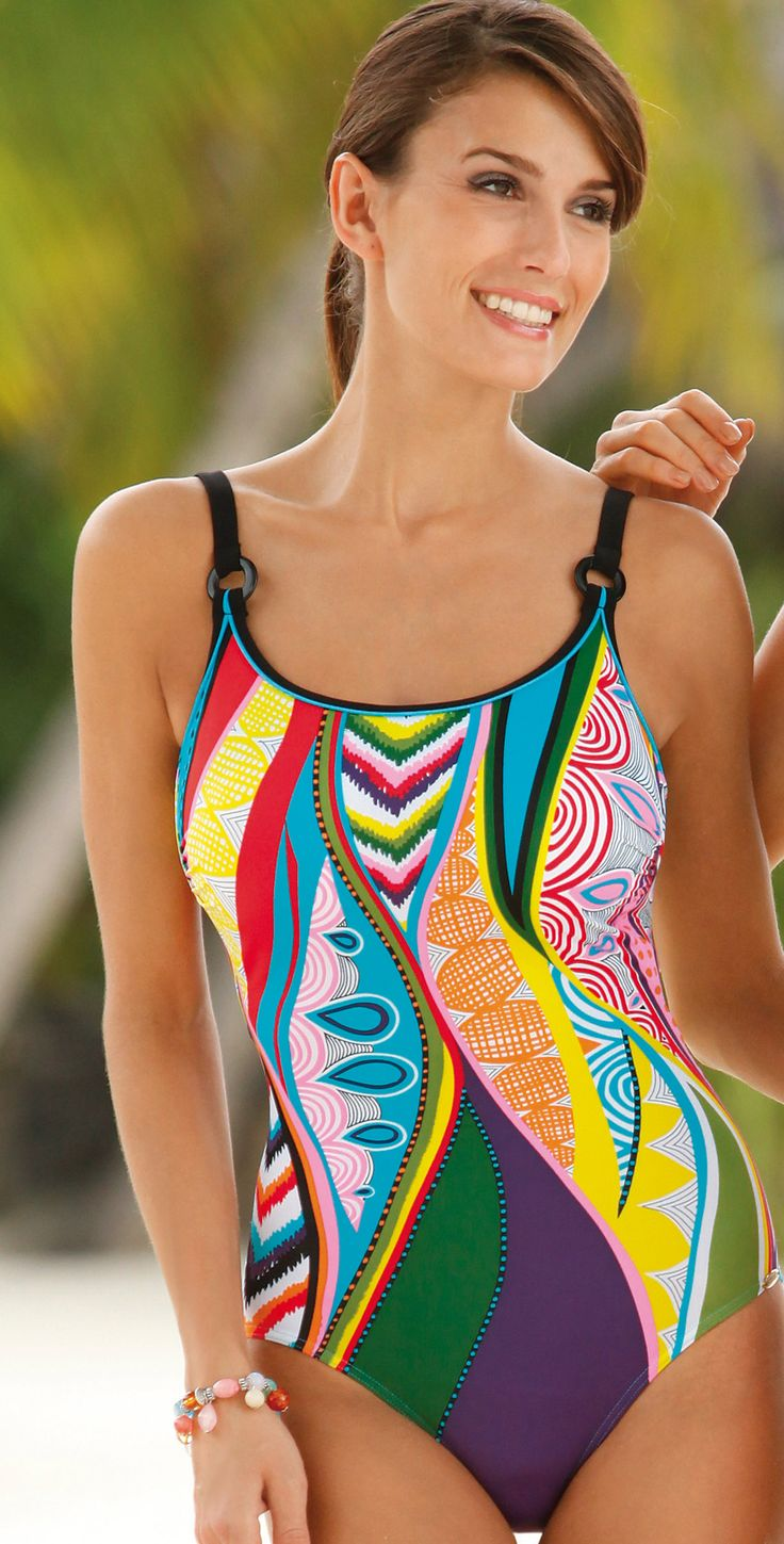This Sunflair mastectomy one piece swimsuit has a high neckline and thick over the shoulder straps. This mastectomy bathing suit offers breast pockets on both sides for prosthesis.