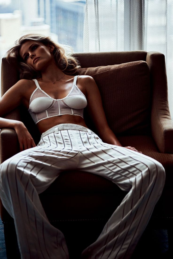Edita Vilkeviciute wears bra top with high-waist trousers for Vogue Japan Magazine July 2016 issue
