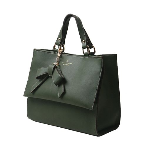 Leather Tote Handbags Faux Leather Ribbon Shoulder Bags 5 Colors at doozybag.com