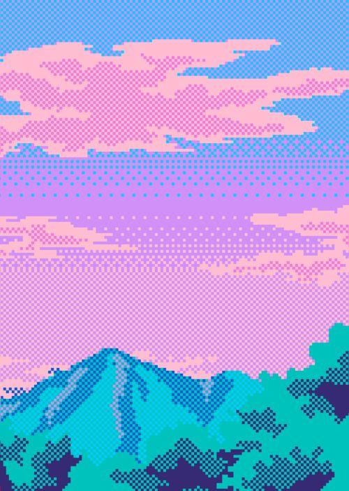 Iridescent colors + glitch + pixels + retro videogame scene