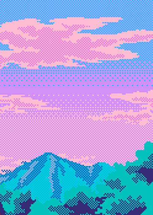 Iridescent colors + glitch + pixels + retro videogame scene