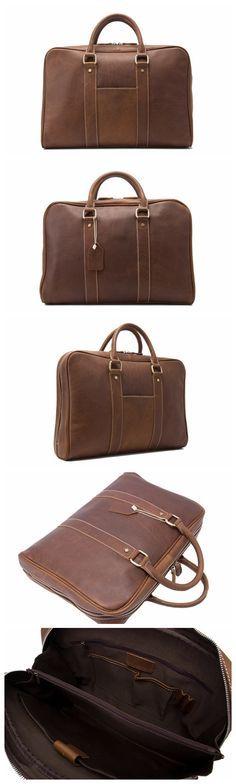 Full Grain Genuine Leather Business Briefcase Men's Handbags fit 15'' Laptop Men's Fashion Leather Briefcase
