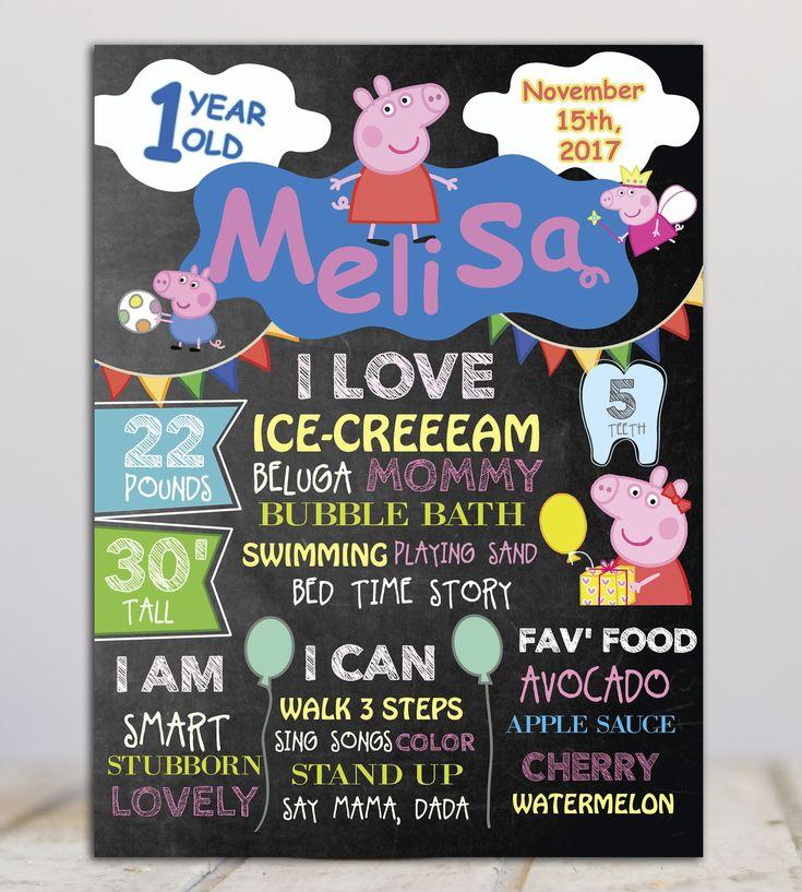 Peppa Pig  Birthday Milestone Chalkboard Sign- Birthday poster-Birthday Sign-Any Age - Printable file #FirstBirthdaySign #ChalkboardPoster #BirthdayPoster #FirstBirthdayDeco #PeppaPigChalkboard #PeppaPigBirthday #PeppaPigDeco #PeppaPigMilestone