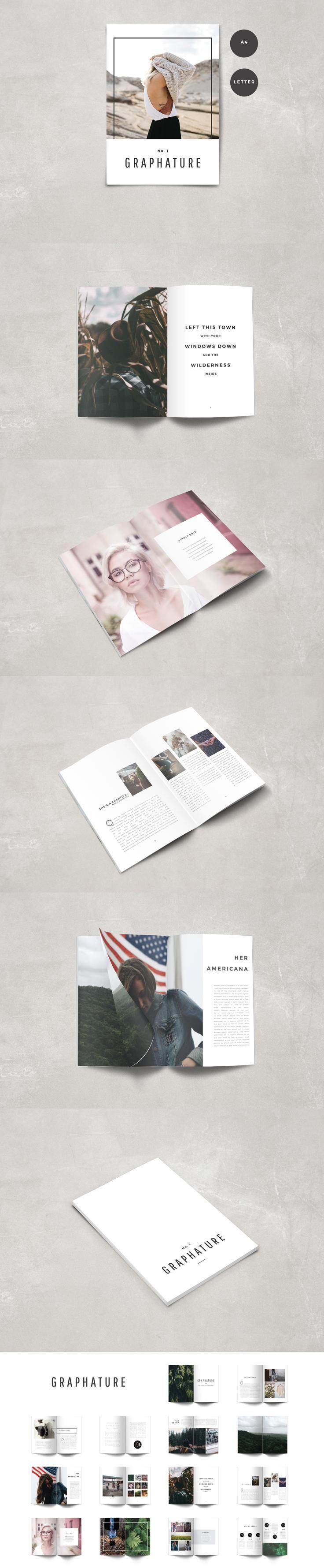 #magazine #design from The Routine Creative   DOWNLOAD: https://creativemarket.com/theroutinecreative/698074-Graphature-Magazine?u=zsoltczigler