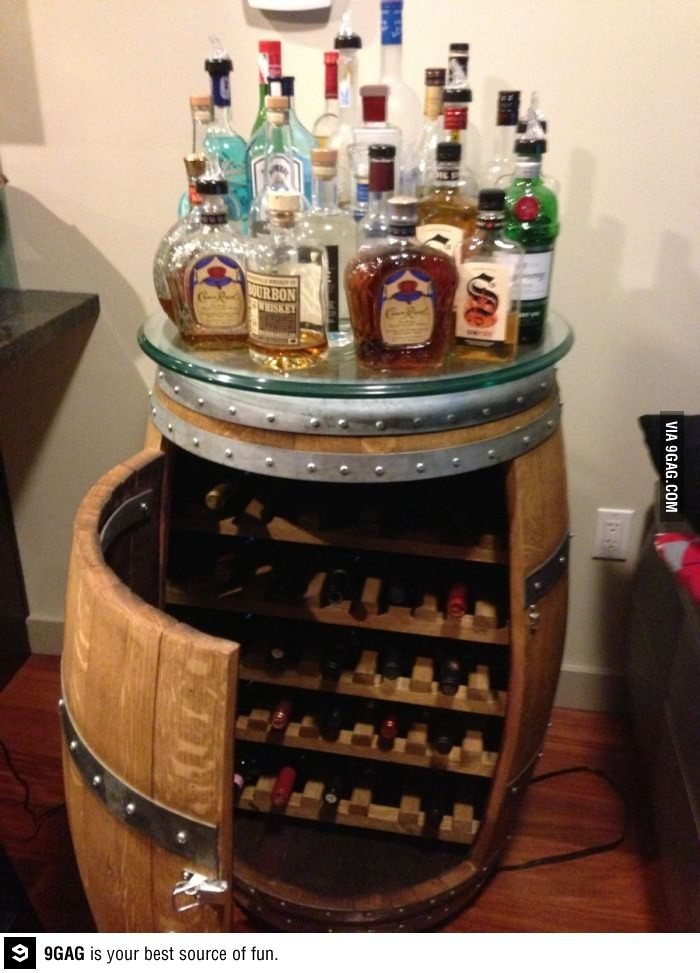 A mini bar in a wine barrel - awesome