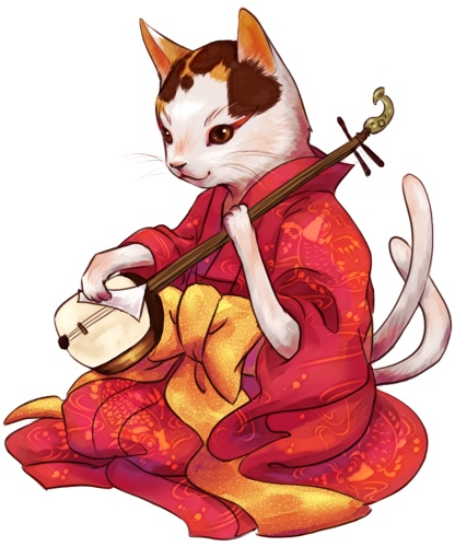 This isn't quite a Maneki Neko...being a Nekomata and all. * grins * But I like it just the same. 又 (Nekomata)