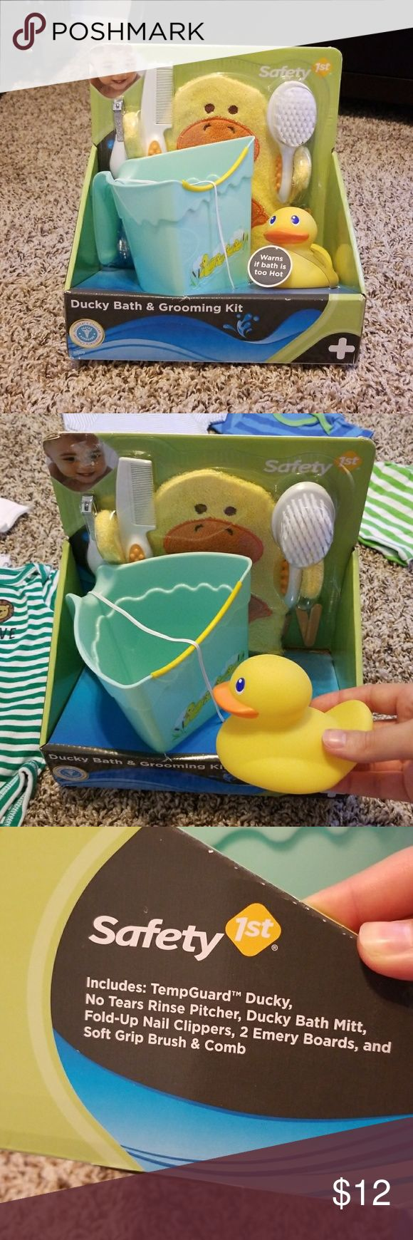 Safety first Ducky Bath and Grooming kit Duck theme water pail and safety kit. See pictures for what is included. New and not used. Ducky came out of plastic and that is the only thing! Other