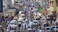 This image released by the Saudi Press Agency, SPA, shows ambulances in Mecca, after people were crushed by overcrowding in Mina, Saudi Arabia during the annual hajj pilgrimage on Thursday, Sept. 24, 2015. Hundreds were killed and injured, Saudi authorities said. The crush happened in Mina, a large valley about five kilometers (three miles) from the holy city of Mecca that has been the site of hajj stampedes in years past.