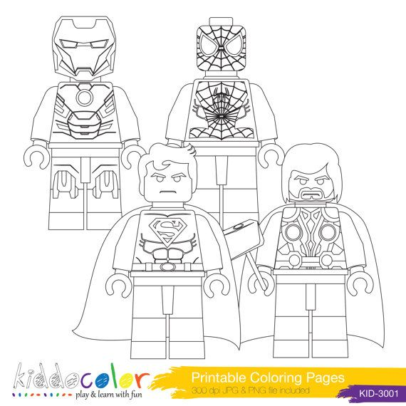 Printable Hero Lego Coloring Pages Digital Stamp