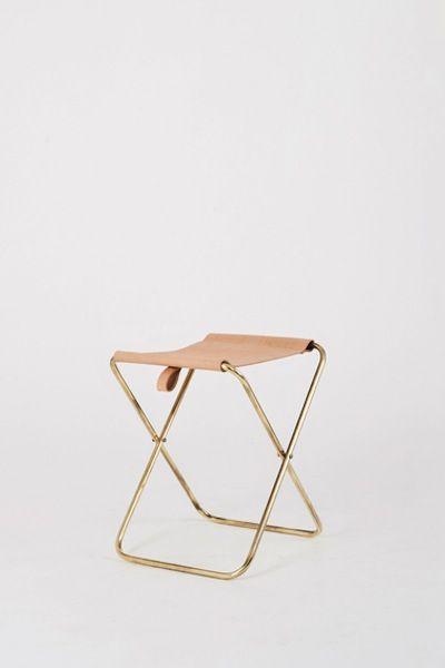folding brass stool by douglas & bec.