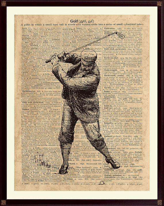 Illustration de golfeur Vintage sur une reproduction dune page de dictionnaire ancien comportant le mot « Golf », SKUG3.  Veuillez sélectionner les options de taille et de style dans le menu déroulant sous la tarification.  ----------------------------------------SIZE----------------------------------------  >> 5 x 7 pouces, taille de limage est de 5 x 7 pouces (12.7x17.8 cm), format de papier est 5.8x8.3 pouces (14.8x21cm).  >> 8 x 10 pouces, taille de limage est de 8 x 10 pouces...