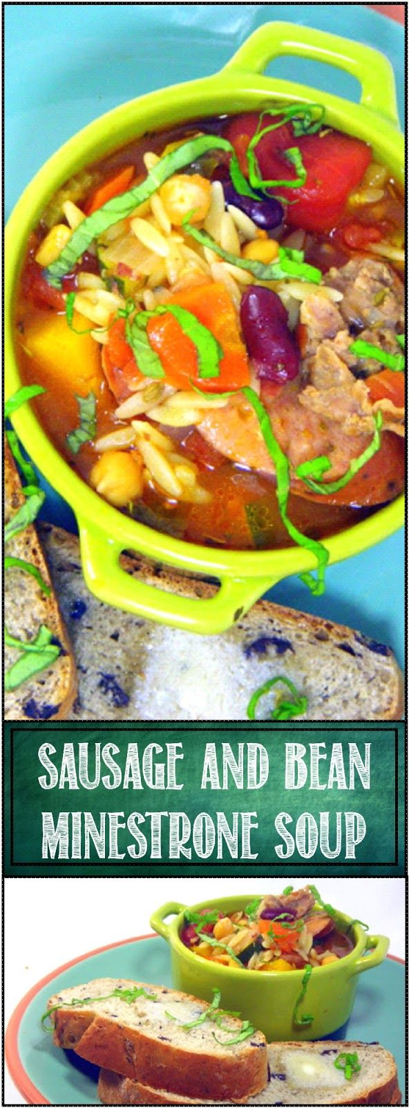 """Sausage and Beans Minestrone """"Salsicce e fagioli Minestrone"""" This is as hearty a soup as you can get. TWO kinds of Sausages, two Beans, two Root Vegetables, EVEN more vegetables, Tomatoes, all in a Tomato based broth... Even Orzo Pasta FANTASTIC FILLING HEARTY SOUP!"""