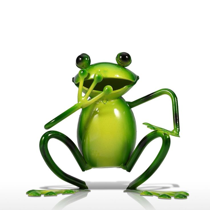 Laughing Frog Iron Art Animal Sculp Home Decor