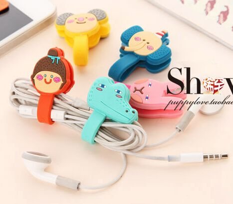 [YYYYAAAA] 1 pcs cartoon lovely finishing headphone cable power line button-type office
