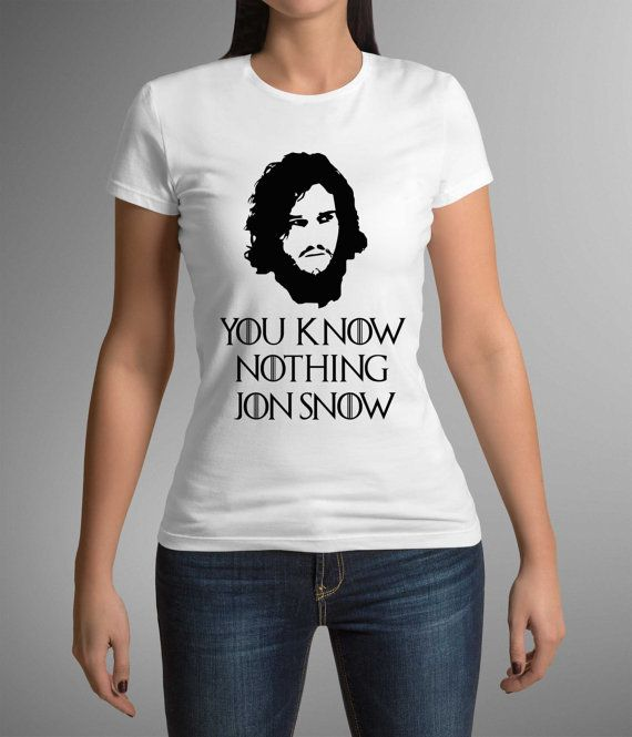 Great t-shirt with print! Game of thrones! Jon snow! Ladies shirt! You know nothing Jon Snow! Gift Idea