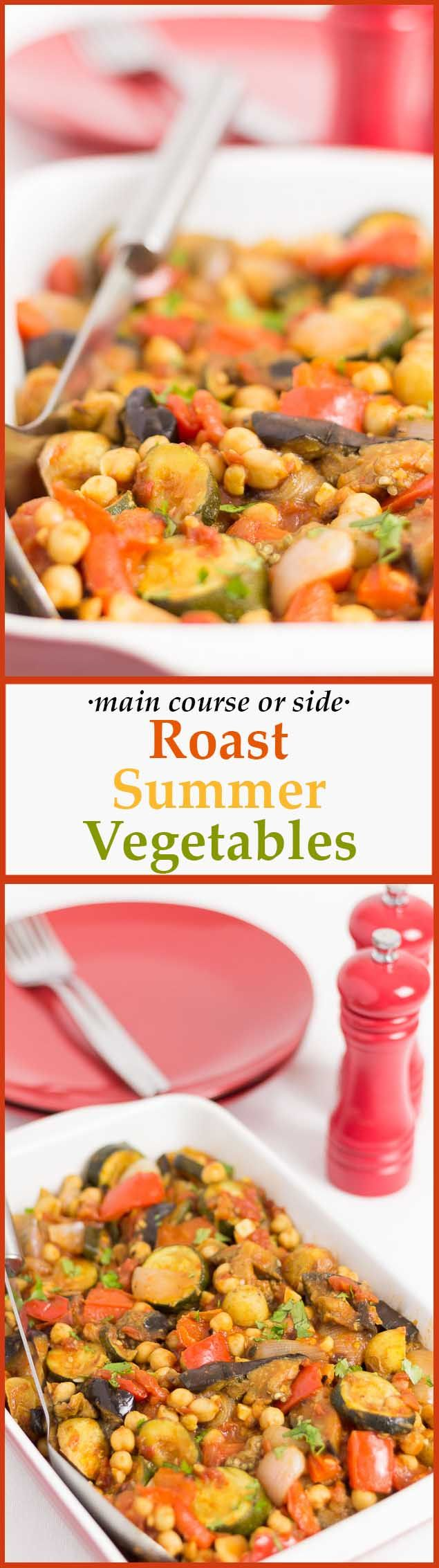 Roast summer vegetables are bountiful in vibrant summer vegetable colours and flavours. Perfect as a way to use up those left over veggies and suitable as a main dish or as a side. via @neilhealthymeal