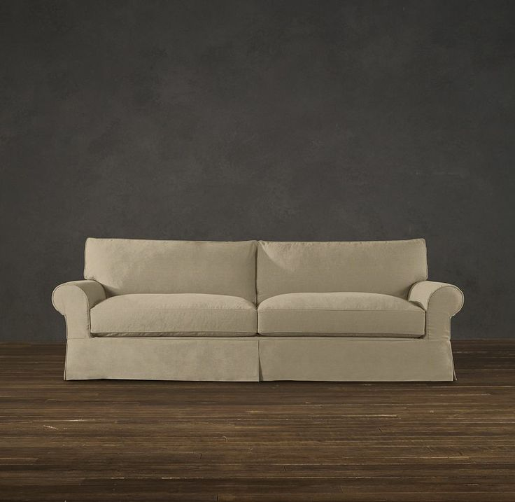 Grand-Scale Roll Arm Slipcovered Sofas - flax