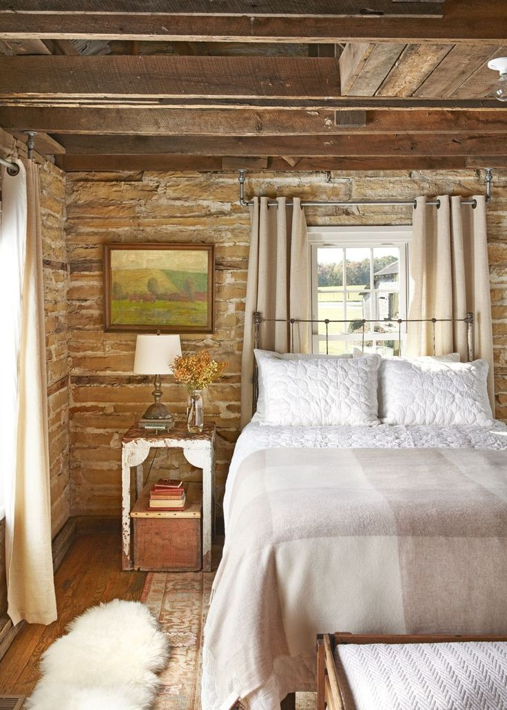 rustic bedroom ideas exposed stone walls in 2020 Master