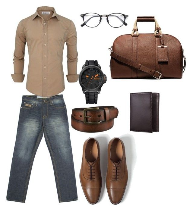 """""""The Turquoise R Series Denim with Brown"""" by turquoisedenim on Polyvore featuring Zara, Uniqlo, Michael Kors, BOSS Orange, Merona, mens, men, men's wear, mens wear and male"""