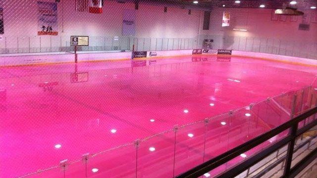 Pink ice skating rink. This is mind blowing! All it needs is pink uplighting and you'd have the ultimate pink look! DIY and get the look for your event at http://RentUplights.com #PinkUplights