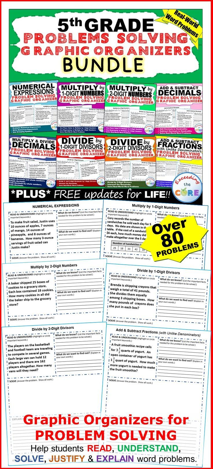 5th Grade Math Common Core WORD PROBLEMS with Graphic Organizer { BUNDLE } includes 8 sets (80 problems) of 5th Grade real-world COMMON CORE WORD PROBLEMS that students must solve and explain using problem-solving strategies.  Topics:  ✔ Numerical Expressions  ✔ Multiply by 1-Digit Numbers  ✔ Multiply by 2-Digit Numbers  ✔ Divide by 1-Digit Divisors  ✔ Divide by 2-Digit Divisors  ✔ Add and Subtract Decimals  ✔ Multiply and Divide Decimals  ✔ Add and Subtract Fractions  5.NBT, 5NF, 5MD, 5OA…