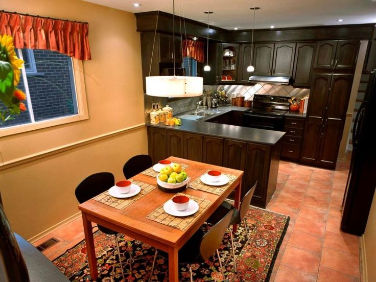 Kitchen Choco Traditional Varnished Wooden Cabinet With Red Curtain Also Square Sink And Pendant Besides Orange Cup  Floral Pattern Wool Carpet  Fruit  Black Chair   Kitchen Peninsula: An Alternative to Kitchen Island