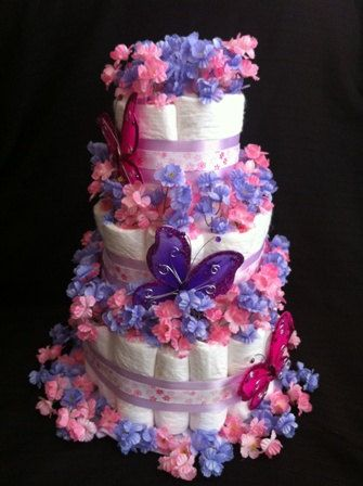 3Tier Girls Butterfly Diaper Cake for Baby by LCDiaperDesigns