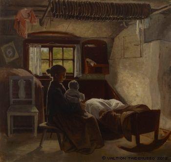 Sisäkuva uusmaalaisesta tuvasta, 1870-luvun alkupuoli
