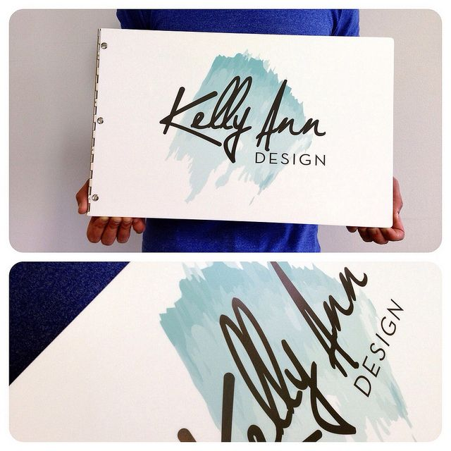 Custom graphic design portfolio book with printed decal on white acrylic by kloportfolios.com
