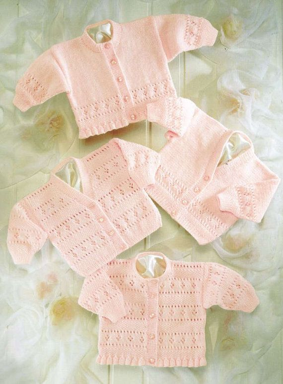 baby cardigan vintage knitting pattern PDF instant download