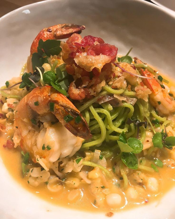 Mexican brown shrimp crispy pancetta sweet corn parsley spaghettini. #YoureWelcome
