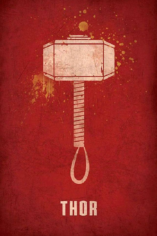 Red background with Thor's hammer