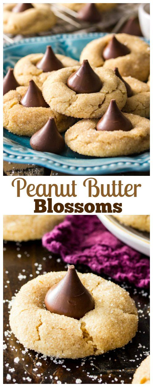 The BEST Peanut Butter Blossoms! The peanut butter cookies are UNBELIEVABLY soft, topped with milk chocolate kisses! Everyone LOVES these!! #cookie #peanutbutterblossom #christmasscookie #recipe #dessert via @sugarspunrun