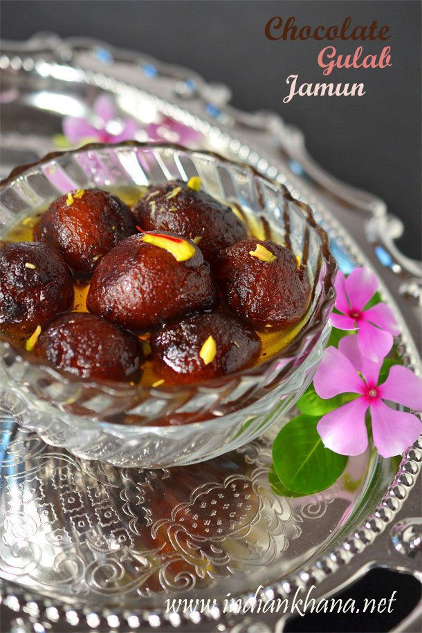#Chocolate Gulab Jamun or Choco Jamun is twist to regular gulab jamun with chocolate surprise.  What better than to have soft, melt in mouth jamuns with chocolate surprise  for this #diwali :)