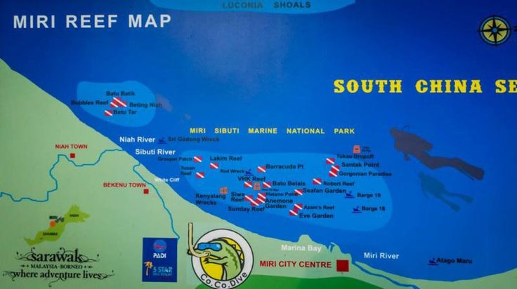 Map of dive sites off the coast of Miri, Sarawak (Malaysia). The wreck sites are particularly interesting.